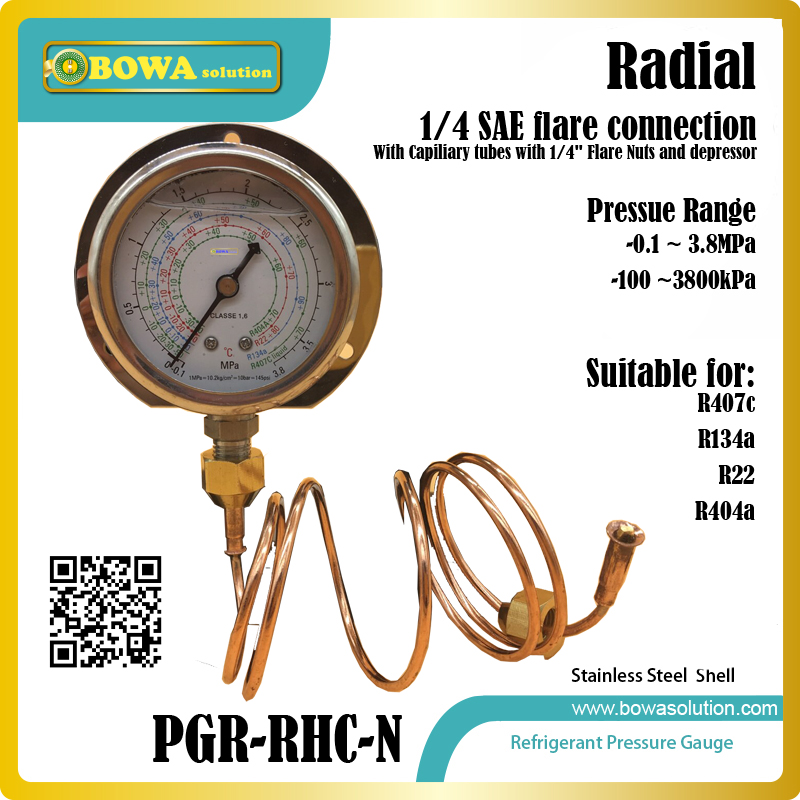0~3800kPa, radial coolant Pressure Gauge with capillary tube with 1/4 SAE flare nuts& depressor for water chillers, brine units