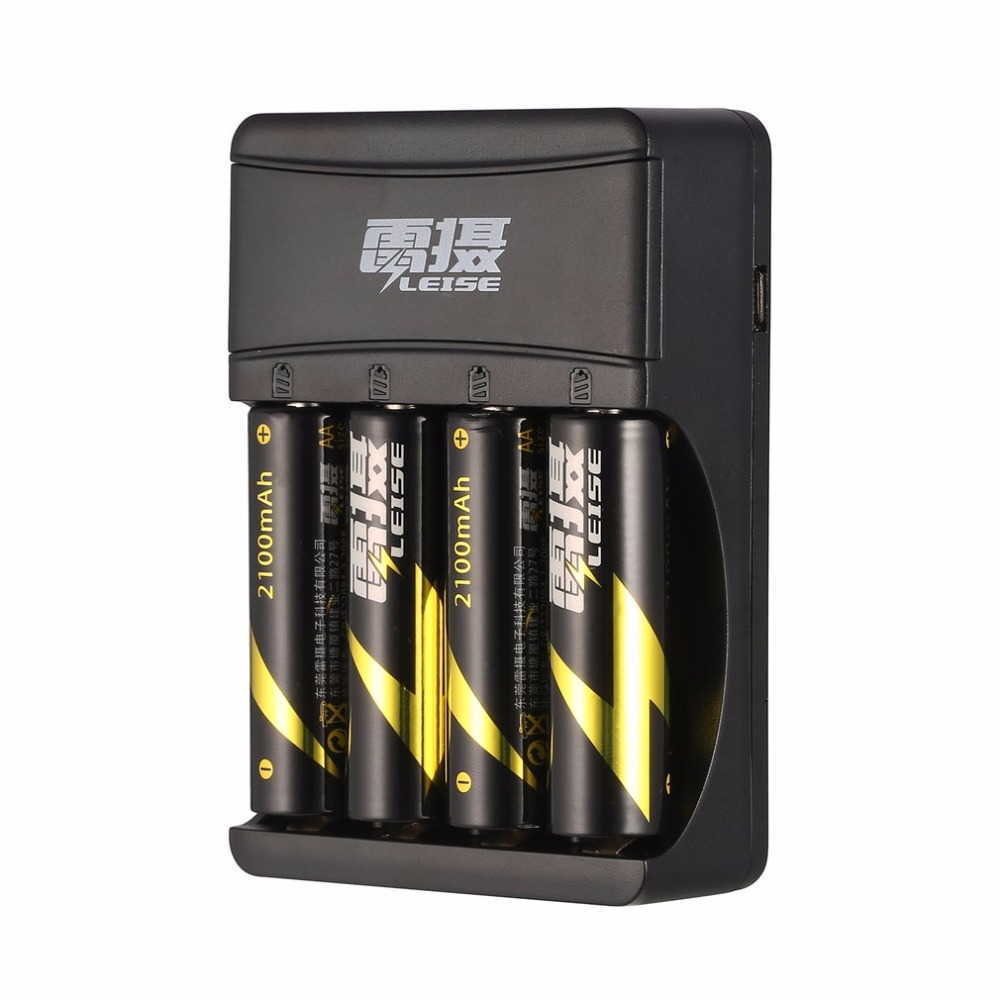 LEISE 4 Slots AA AAA Battery Charger Smart USB Rechargeable Battery Chargers with LED Indicator for AA & AAA Ni-MH Batteries