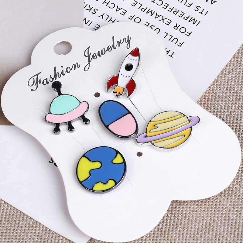 1 セットエナメルピンバッジ UFO ブローチスペース漫画かわいいフラミンゴ襟着てラペルピンボタンバッジ子供のためのギフト