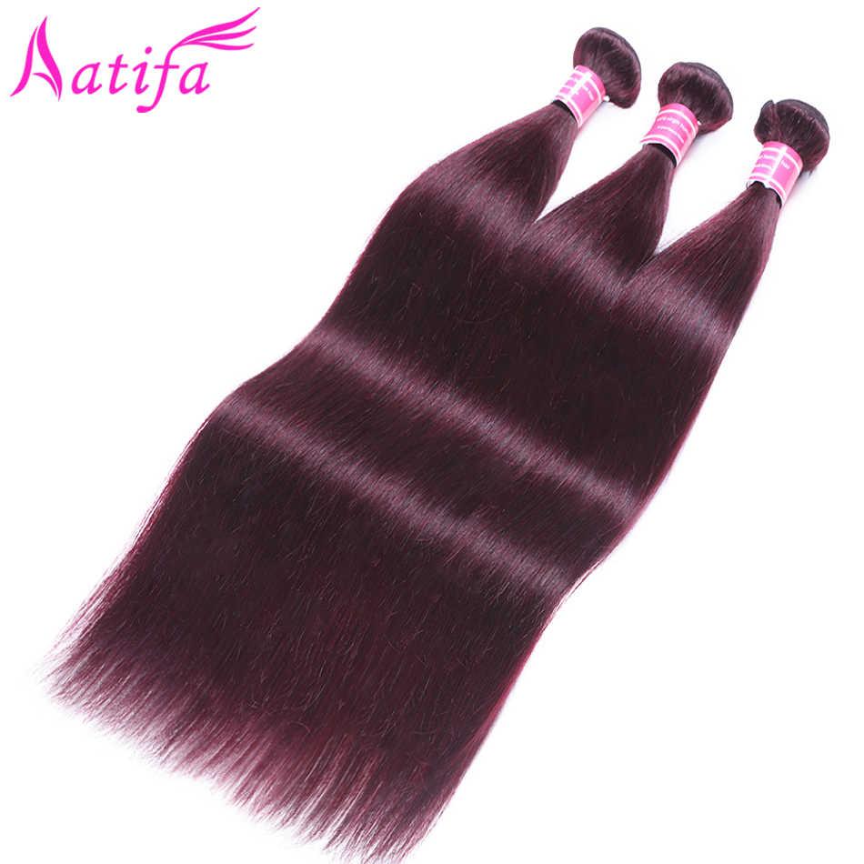 Предварительно цветные бразильские прямые волосы 3 пучка с закрытием 99J красные бордовые, человеческие волосы пучки с закрытием remy волосы переплетения