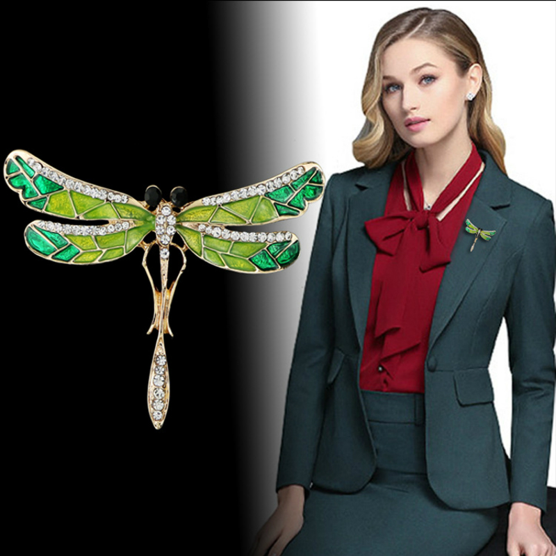 2019 Crystal Vintage Dragonfly Brooches For Women Large Insect Brooch Pin Fashion Dress Coat Accessories Cute Jewelry