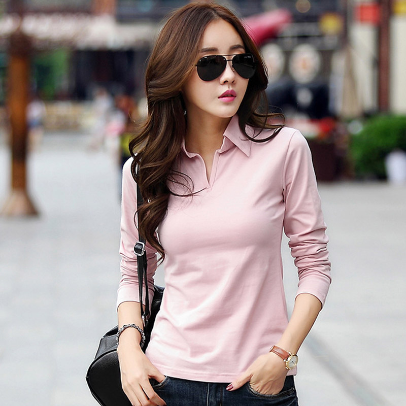 Winter Autumn Polo Shirts For Women 2018 Long Sleeve Solid Slim Polos Mujer  Shirts Tops Fashion Polo Femme Candy Color Top A474-in Polo Shirts from  Women s ... 5786cba884