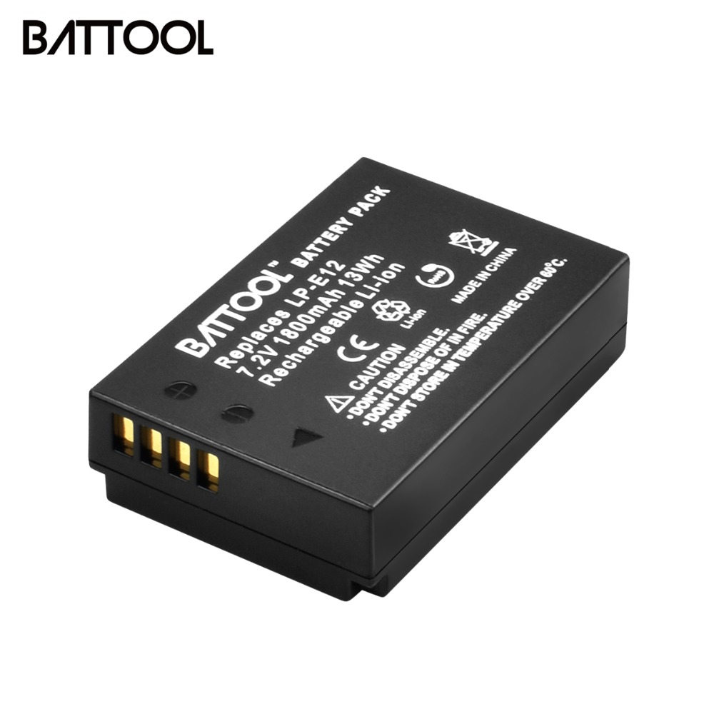 1Pcs 1800mAh LP-E12 LPE12 LP E12 Camera <font><b>Batteries</b></font> For <font><b>Canon</b></font> EOS <font><b>100D</b></font> Kiss X7 Rebel SL1 EOS M10 DSLR <font><b>Battery</b></font> image
