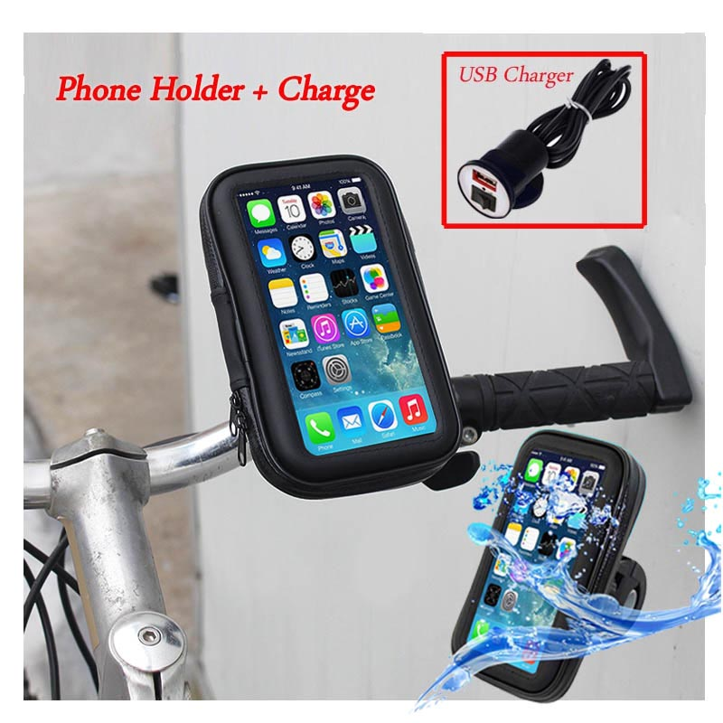 Waterproof <font><b>Phone</b></font> Bag Motorcycle Moto Bicycle Bike <font><b>Phone</b></font> <font><b>Holder</b></font> <font><b>Phone</b></font> Stand for <font><b>iPhone</b></font> 7 6 5 4 Plus+Samsung/GPS <font><b>Holder</b></font>+USB Charge