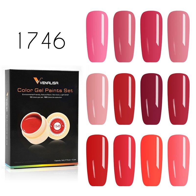 12 teile/los Venalisa 5 ml Malerei Gel Kits Soak Off UV LED Schnelle Trockenen Zeichnung Gel Reine Farbe Gel für nagel Salon Lehre Gel Lack