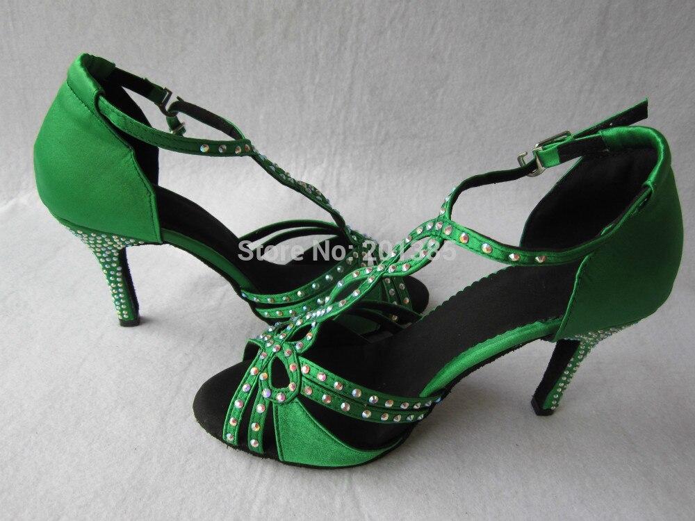 Nye Ladies Green Satin Crystal Rhinestone Ballroom Latin Samba Salsa - Kondisko - Foto 4
