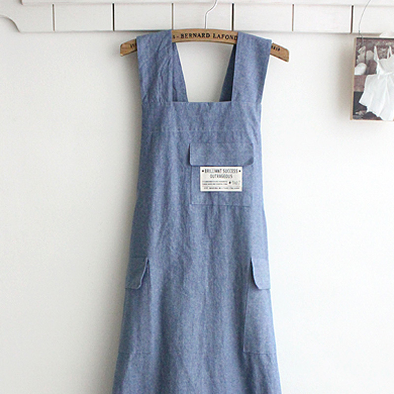 Chef Apron Gift Japanese style X Shape denim smock Natural Cotton APRON Halter Cross Bandage Bib Kitchen Garden Wear blue Color in Aprons from Home Garden