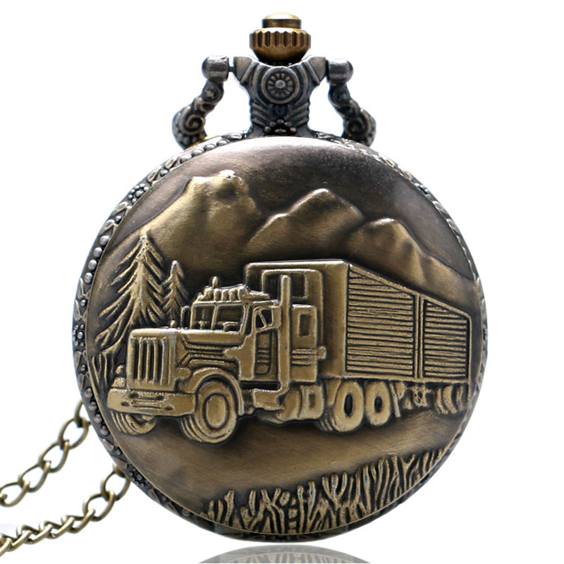 Vintage Bronze Truck Design 3D Case Quartz Pocket Watches With Necklace Chain Cool Fob Watch For Men Women Gift Children