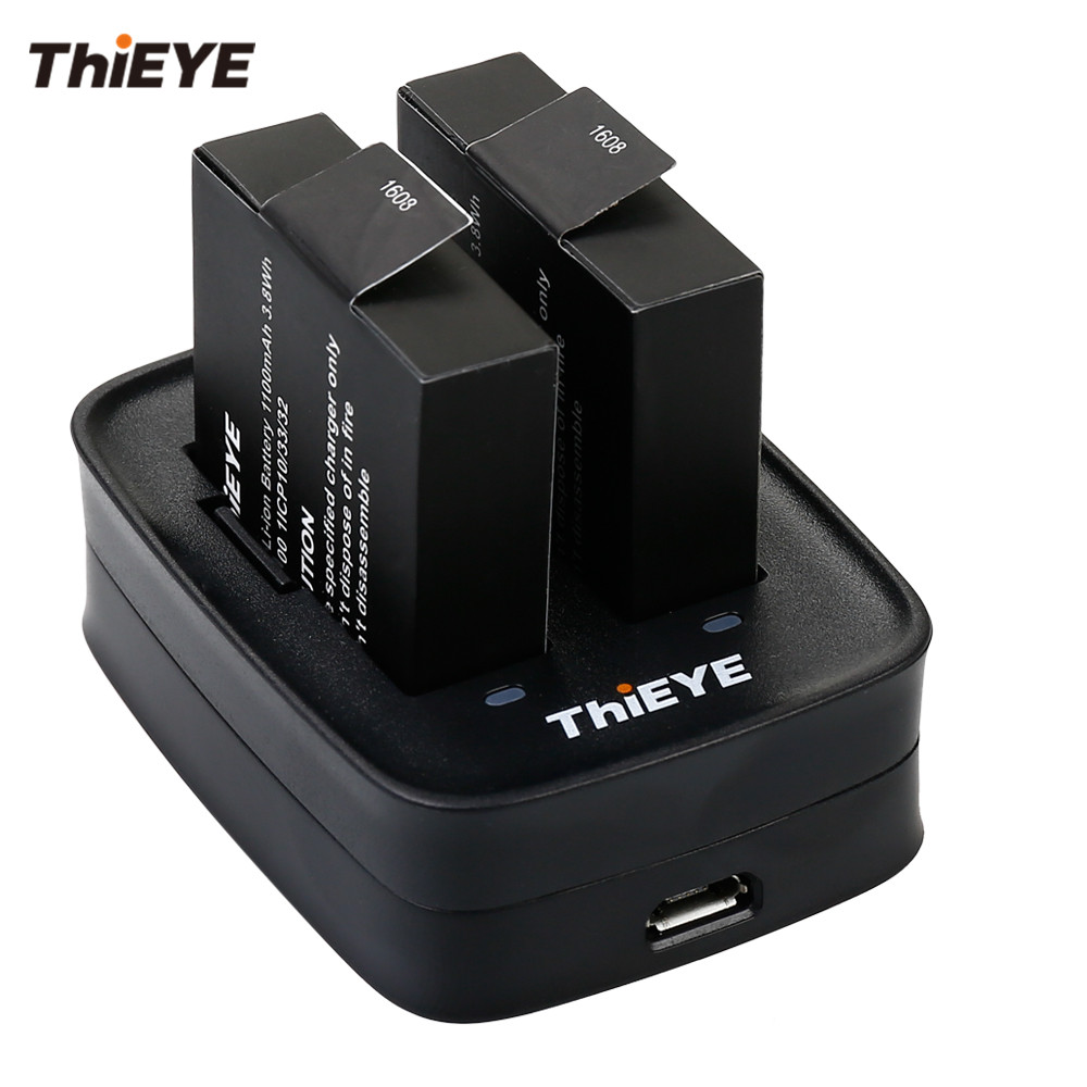 Dual Battery Charger + Two 1100mAh Rechargeable Batteries for ThiEYE T5 Edge / E7 / T5e / T5 Action Camera Accessories thieye t5e wifi 4k action camera black