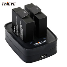 Двойной Батарея Зарядное устройство + два 1100 мАч Перезаряжаемые батареи для ThiEYE T5 Edge/E7/T5e/T5 действие камера аксессуары