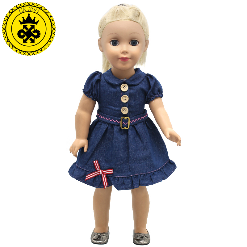 American Girl font b Doll b font Clothes Handmade Suspender Cowboy Dot 3 Style Skirt For