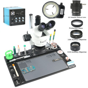 Image 2 - حامل منضدة من الألومنيوم بكاميرا ميكروسكوب للفيديو 20 ميجابكسل HDMI USB 3.5X 90X مجهر ستريو ثلاثي العينيات