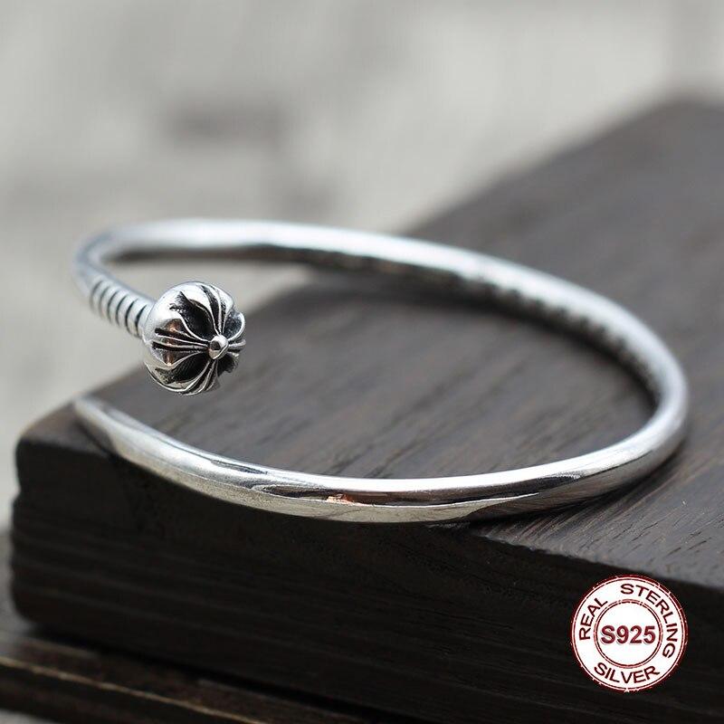 S925 bracelet homme en argent Sterling personnalité rétro hip hop croix rivets classique simple style punk envoyer un cadeau à l'amour