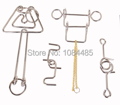 4PCS/Lot IQ Test Metal Brain Teaser Wire Puzzle