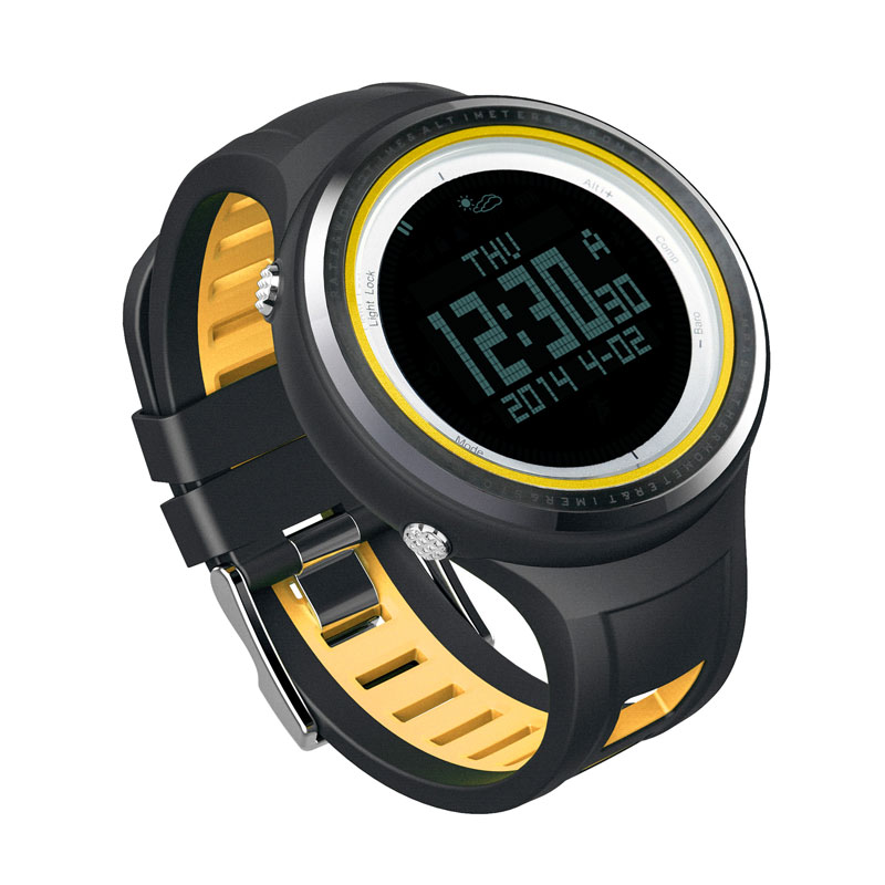 SUNROAD FR800NB Sports Watch Men-Waterproof Digital Altimeter Barometer Compass Pedometer Watches Stopwatch  Men Clock (Yellow) sunroad fr800nb sports watch men waterproof digital altimeter barometer compass watches pedometer men watch style clock green