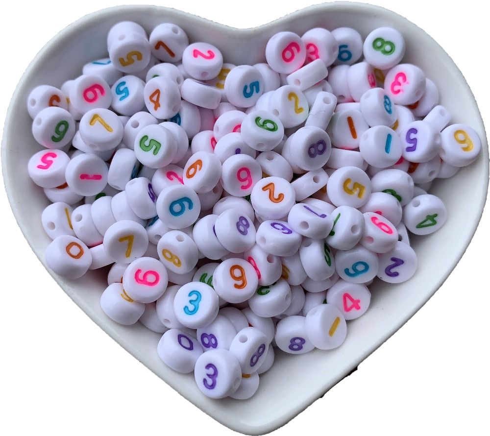 Beads & Jewelry Making New 4*7mm Plastic Acrylic 0-9 Numbers Beads 3600pcs/lot Diy Jewelry Bracelet Spacer Colorful Neon Number Beads Single Number Bag Skillful Manufacture Beads