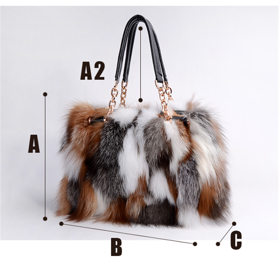 Real Red Fox Fur Handbags Handbag Bag Silver Pathwork In From Women S Clothing Accessories On Aliexpress