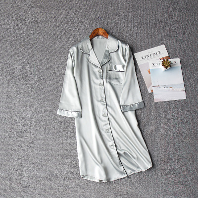 Image 3 - Women Sexy Nightgown Summer Autumn Night Dress Silk Dress Nightie Homewear Casual Blouse Satin Sleepwear Modis Shirt Nightwear-in Nightgowns & Sleepshirts from Underwear & Sleepwears