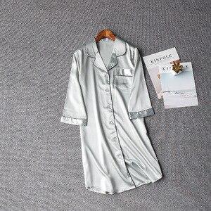 Image 3 - Women Sexy Nightgown Summer Autumn Night Dress Silk Dress Nightie Homewear Casual Blouse Satin Sleepwear Modis Shirt Nightwear