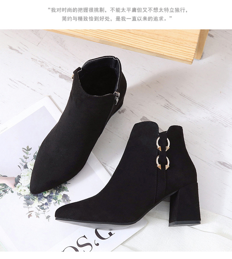 2019 Spring Autumn Women Boots New Fashion Casual Ladies Flock Short Boots Female Middle Heeled Boots M8D261 (19)