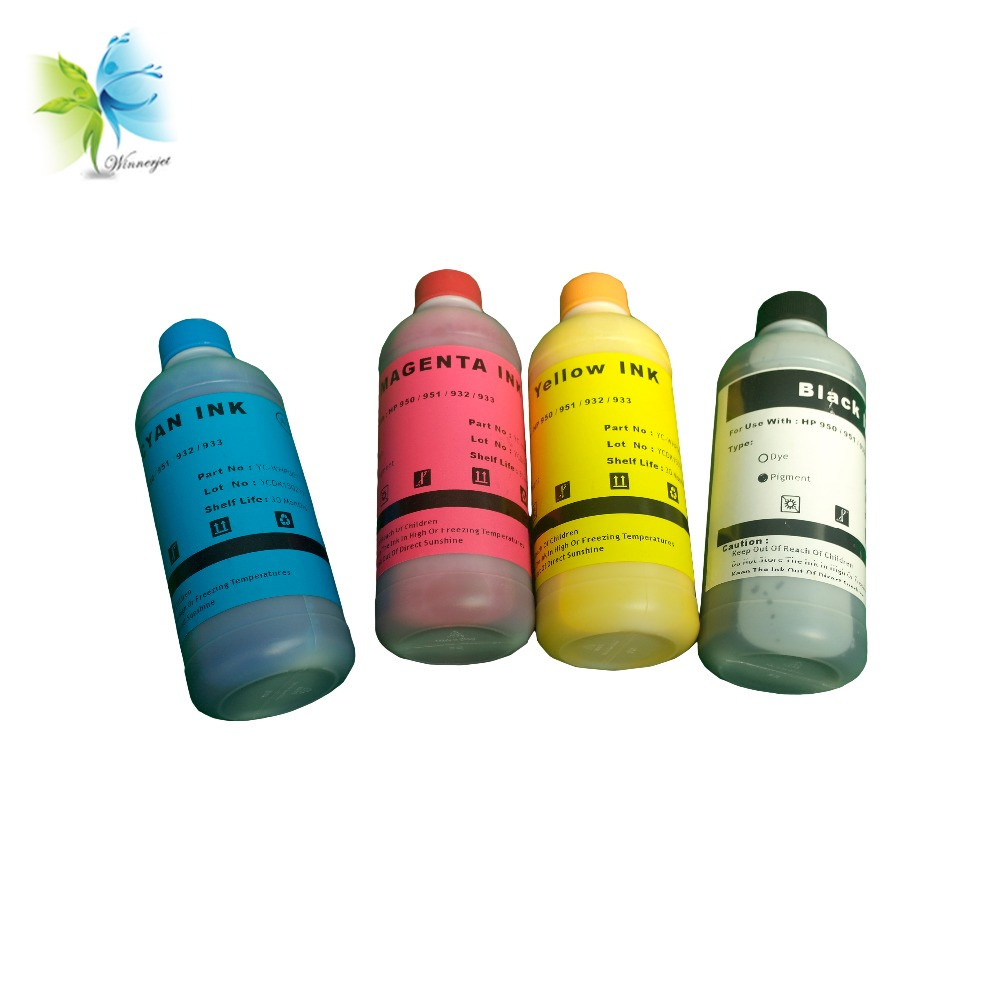 Winnerjet 4 Color 500ml/bottle Pigment ink For <font><b>HP</b></font> 950 951 932 <font><b>933</b></font> + one set <font><b>refill</b></font> ink cartridge image