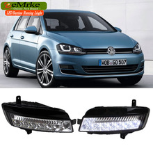 eeMrke LED Daytime Running Lights For VW Volkswagen GOLF 7 Mk7 White DRL Light Fog Lamp Cover Kits