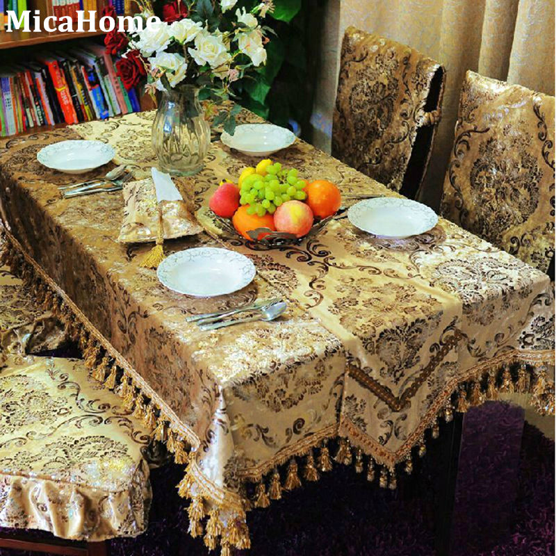 Icepatterned Gold Velvet Fashion Dining Table Cloth Table
