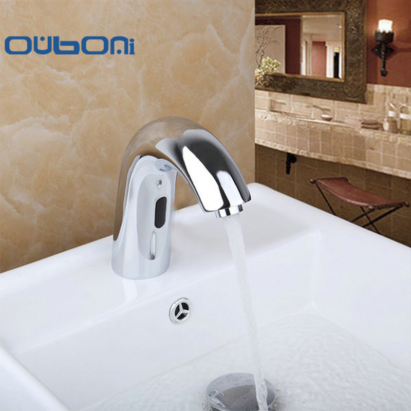OUBONI Contemporary Hot And Cold Automatic Hands Touch Free Sensor Faucet Bathroom Sink Tap Bathroom Faucet
