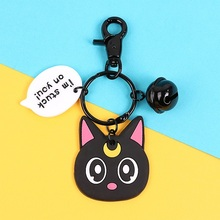 2019 Fashion Cute Cartoon Cat Pendant Key Rings Kitten Chain Shake Head Bell Car Bag Keychains Creative