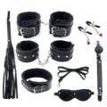 Fetish Adult SM Bed Restraints Bondage Set (Hand Cuff, Whip, Ball & Blindfold) Sex Toys for Couples