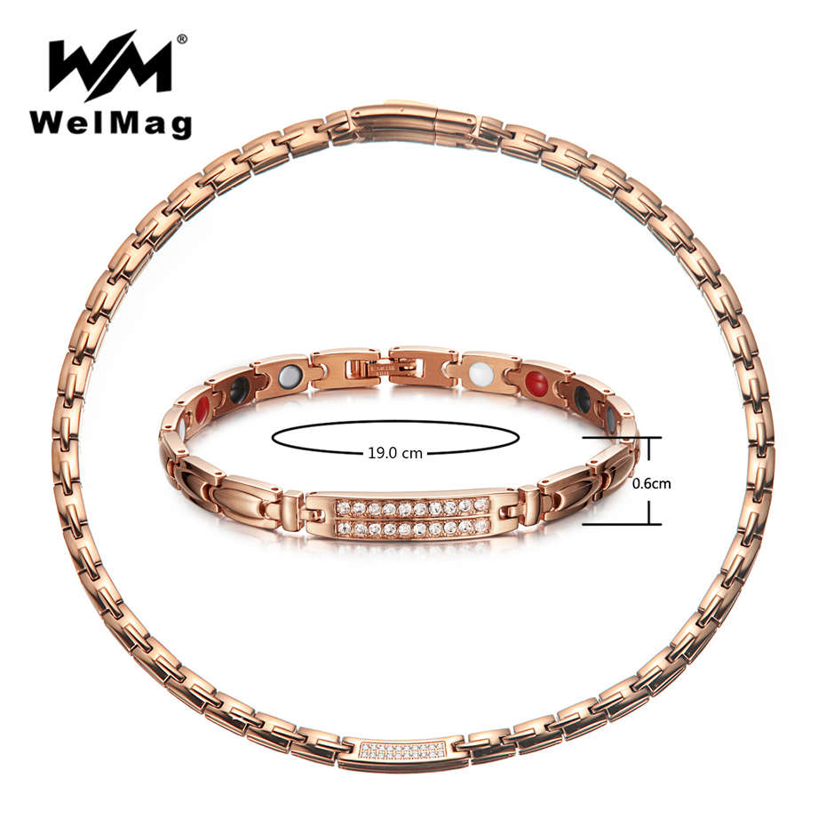 WelMag New Crystal Magnetic Jewelry Sets for Women Rose Gold Stainless Steel Germanium Necklace Bracelet Femme Dropshipping 2018 dropshipping fashion stainless steel rose gold
