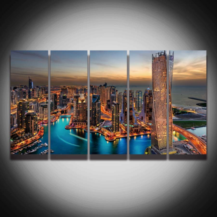 Aliexpress Com Buy 5 Panel Printed City Night Scenery