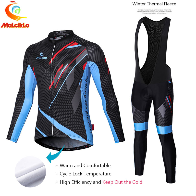 Malciklo Brand 2017 High Quality Bicycle Cycling Winter Thermal Fleece Jersey Long Set Ropa Ciclismo Bike Clothing Pants W008 black thermal fleece cycling clothing winter fleece long adequate quality cycling jersey bicycle clothing cc5081