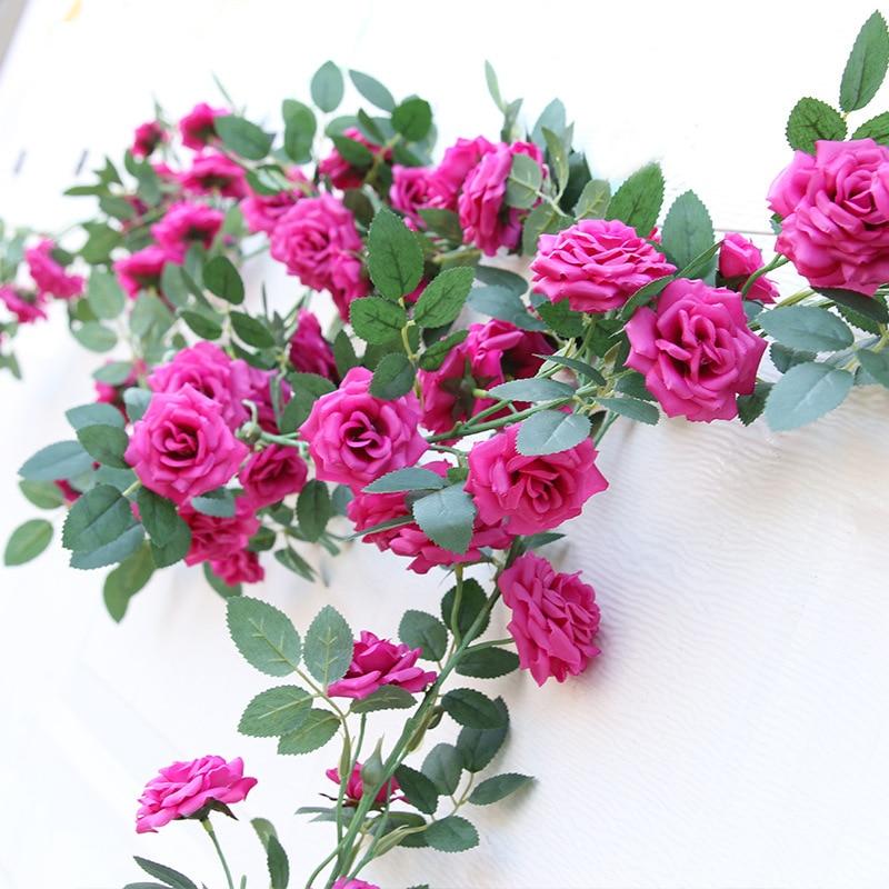 Artificial & Dried Flowers Artificial High-grade Silk Rose Rattan Silk Screen Leaves 10.5cm Rose Head Single 2 Meters Long Wedding Decoration Flower Vine