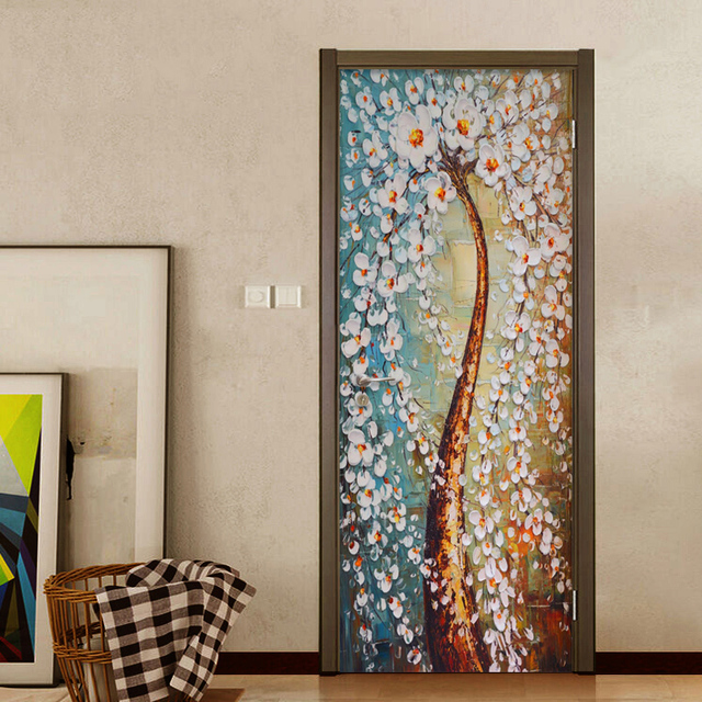 Delicieux Modern Abstract Art Wallpaper 3D Stereo Colorful Tree Oil Painting Door  Sticker Photo Wall Murals Bedroom Home Decor Door Murals