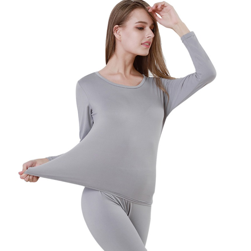 Thin Slim Solid Color Long Johns Thermal Underwear For Women Sexy Seamless Winter Thermal Underwear Set Lingerie Intimates