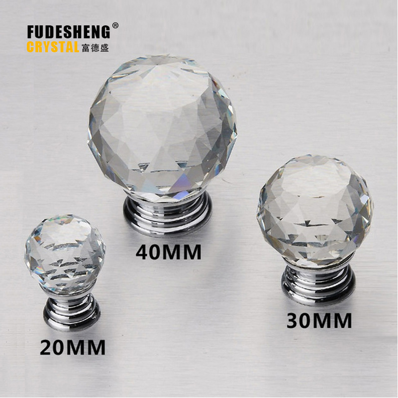 1pcs 30mm Diamond Clear Crystal Glass Door Pull Drawer Cabinet Furniture Handle Knob Screw Hot Worldwide css clear crystal glass cabinet drawer door knobs handles 30mm