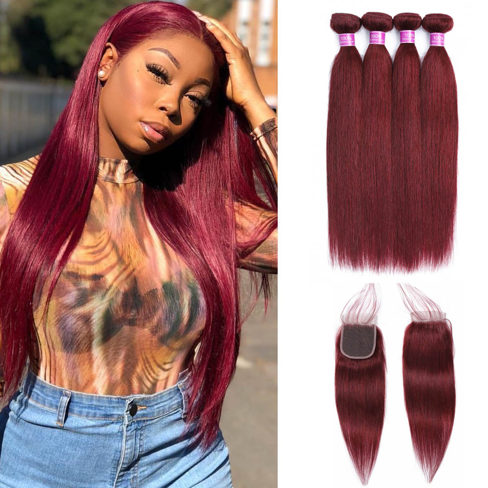 Peruvian Straight Hair 4 Bundles Human Hair Extensions With 4 4 Lace Closure 99j Red Double