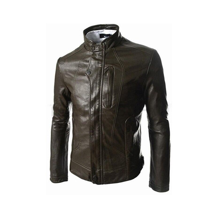Zogaa hommes veste en cuir hommes vêtements 2018 nouvelle coupe poche courte style slim vestes en cuir manteau décontracté col montant pardessus - 4