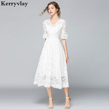 Robe princesse française en dentelle Blanche, grande taille, balançoire, Robe de plage, soirée, K9011, été, 2021