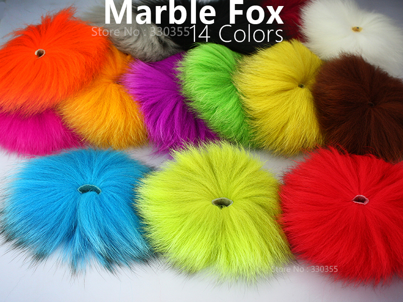 Dyed Arctic Marble Fox Tail Hair Fly Tying Material - 2 pcs per pack цены онлайн