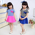Girl 100% cotton strip bow dress 2015 summer new baby girls dress kids clothes fashion cute children's dresses frees hipping