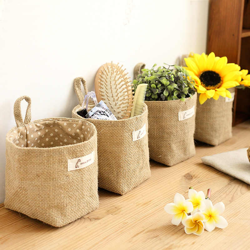 2019 Wholesale Zakka style storage box jute with cotton lining sundries basket mini desktop storage bag hanging bags 6 colors