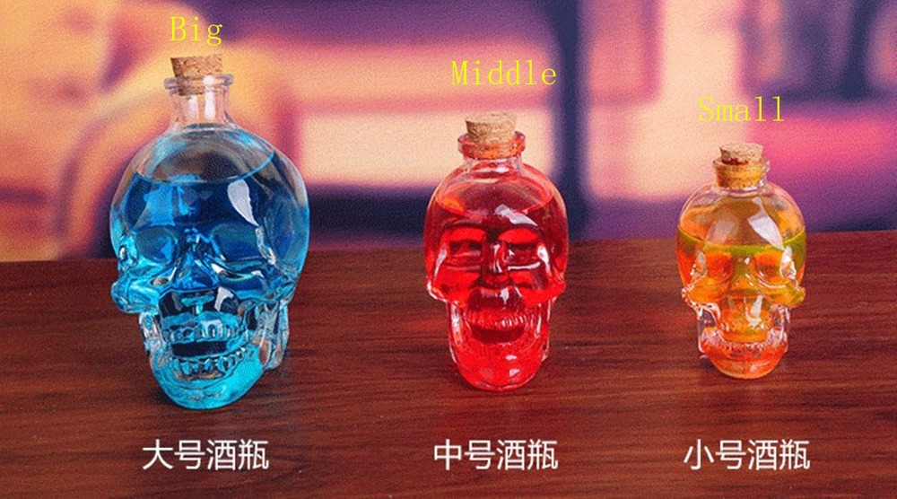 1PCS Crystal Skull Head Glass Bottle Wine Glass Bottles Unique Design Bottle