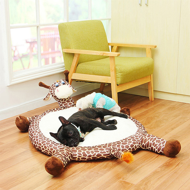 Best Seller Cute Giraffe Soft Handcrafted Cozy Dog Beds Warm Cartoon Cat Fleece Couture Blanket Mat Pet Bed Cushion mascotas