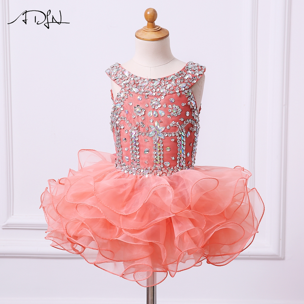ADLN Coral   Flower     Girls     Dresses   Sparkly Pageant Gown Organza Ball Gowns Cupcake   Dress   Vestidos de Primera Comunion