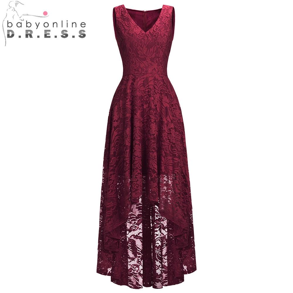New Arrival Elegant Plus Size Lace High Low   Evening     Dress   2019 Sexy V Neck Sleeveless Long   Evening   Gown Vestido De Festa Longo