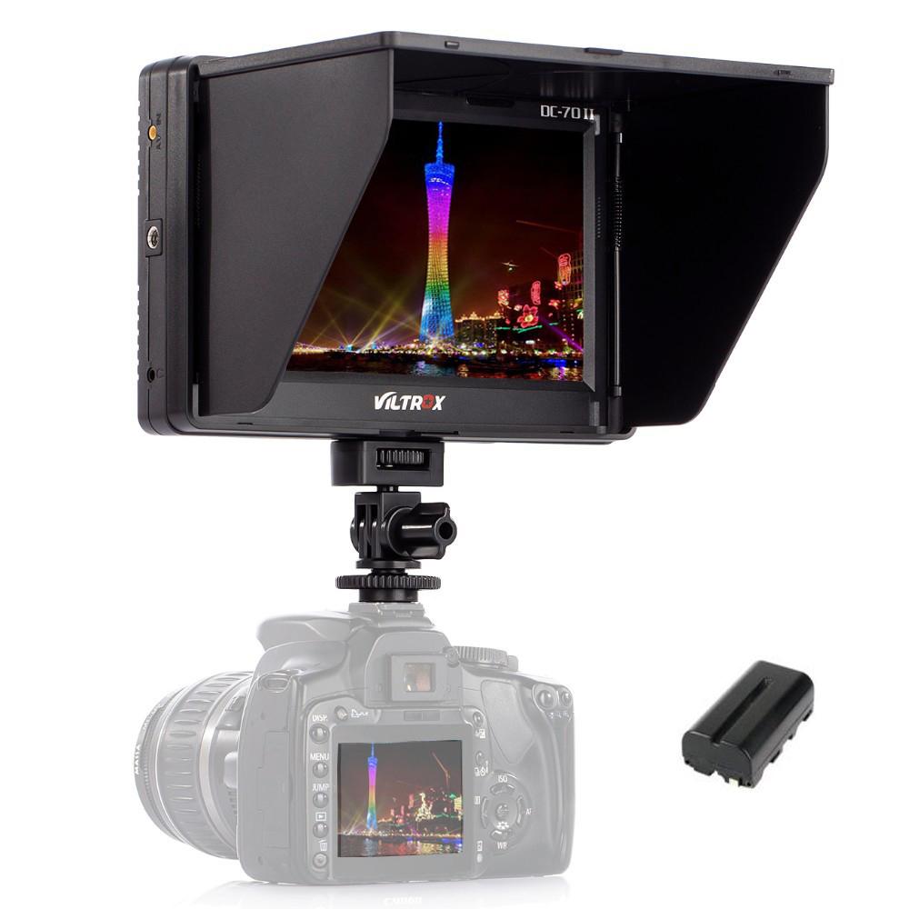 Prix pour Viltrox 7 ''DC-70II Clip-sur TFT HD LCD Caméra Vidéo Moniteur D'affichage HDMI AV Entrée pour Canon Nikon DSLR BMPCC + Livraison batterie
