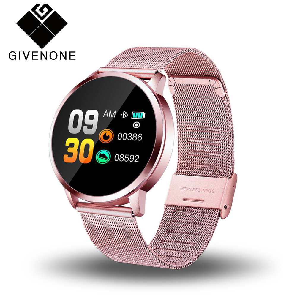 GIVENONE New Q8 Smart Watch Men Women Heart Rate Blood Pressure Monitor OLED Screen Bluetooth Sports Pedometer Wearable Devices(China)
