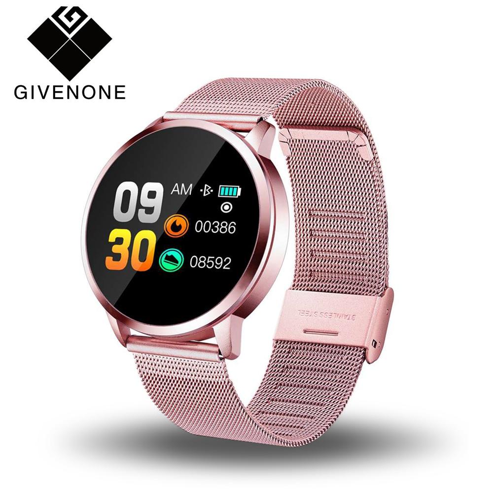 GIVENONE nouveau Q8 montre intelligente hommes femmes fréquence cardiaque moniteur de pression artérielle OLED écran Bluetooth Sports podomètre appareils portables